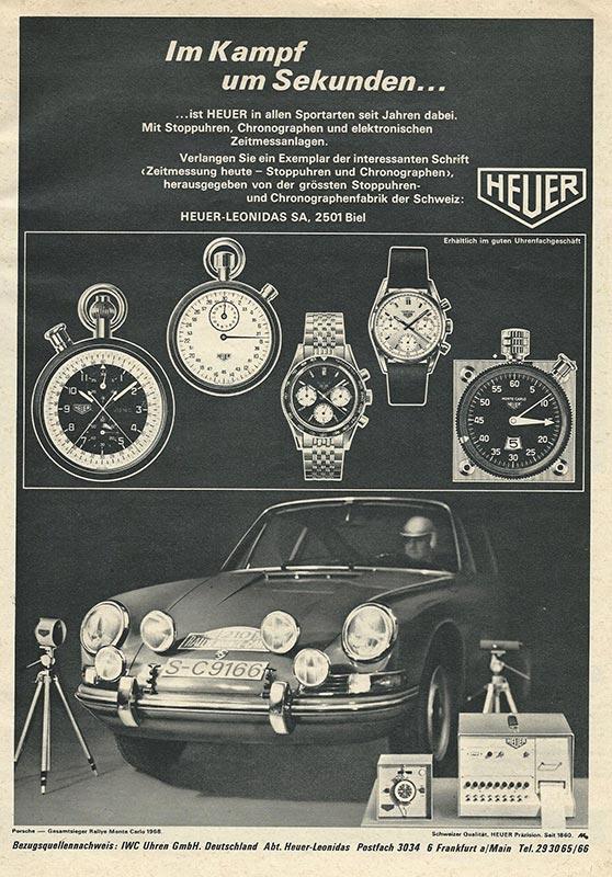 Zeitungsanzeige Heuer Chronographen und Porsche Carrera